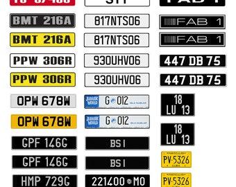 scale model TV movie car international European license tag plates