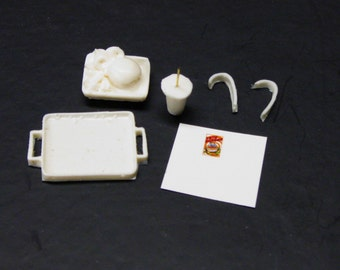 1:25 G scale model resin car hop drive in restaurant diner tray and meal