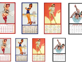 1:25 G scale model  pin up calendar Fire Police Nurse Vintage Pin-UP