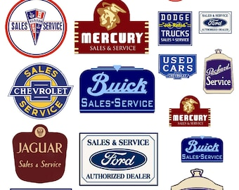 1:25 G scale model vintage car automobile sales service signs