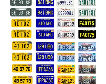 scale model car assorted USA license plates California state tags  1/18 1/25 1/43 1/64