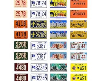 scale model car assorted USA license plates Alaska state tags