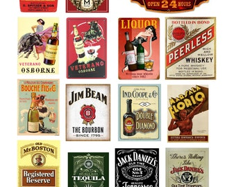 scale vintage liquor alcohol bar signs posters
