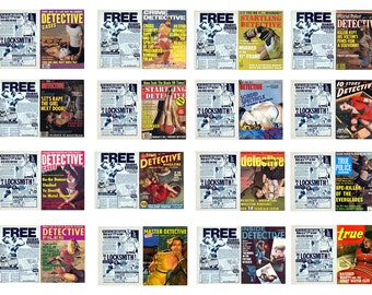 1:25 G scale miniature detective magazines true crime bondage covers