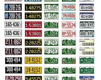 scale model car assorted USA license plates Colorado state tags  1/18 1/25 1/43 1/64