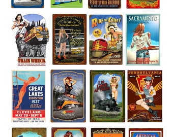 scale vintage train railroad pin up girl signs posters set 2