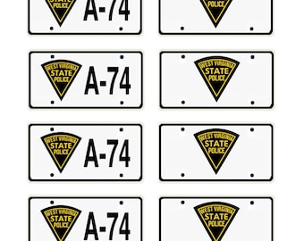 scale model West Virginia State Police car license tag plates