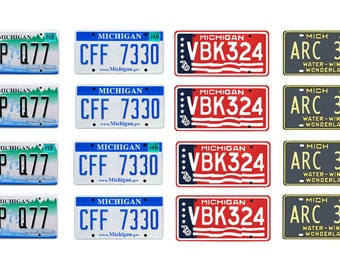 scale model Michigan car license tag plates