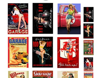 scale model garage auto shop pin up posters sign