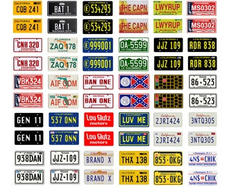 scale model car movie TV license tag plates