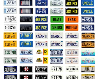 scale model car assorted science fiction TV movie license plates tags