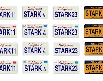 scale model car Ironman Tony Stark  license tag plates set