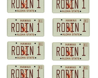 scale model Magnum PI Robin-1 Hawaii car license tag plates
