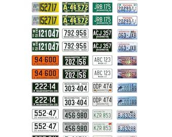 scale model car assorted USA license plates Washington state  tags 1/18 1/25 1/43 1/64