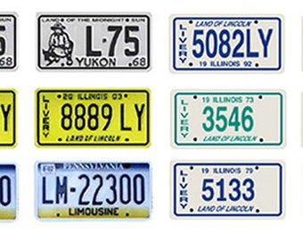 scale model car limousine livery state license tag plates