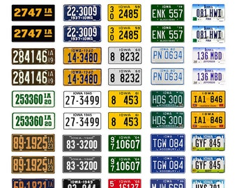 scale model car assorted USA license plates Iowa state tags  1/18 1/25 1/43 1/64