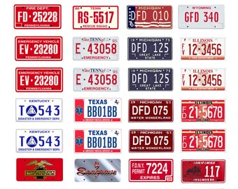 scale model assorted toy fire truck department plates license tags