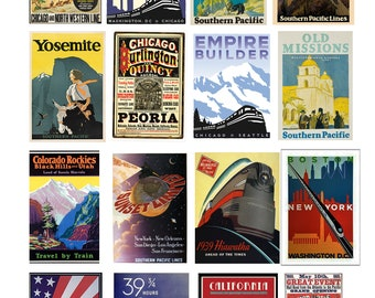 scale vintage train railroad signs posters set 3