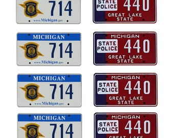 scale model Michigan State Police car license tag plates