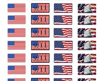 scale model car USA United States of America US flag license tag plates