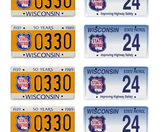 scale model Wisconsin State Police car license tag plates