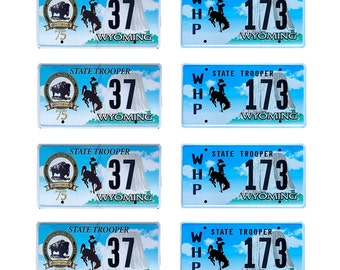 scale model Wyoming Highway Patrol police car license tag plates