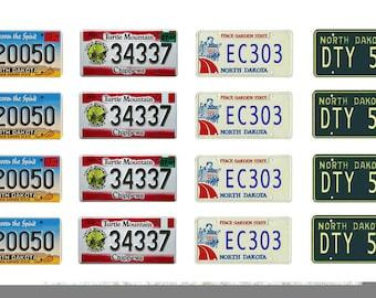 scale model car North Dakota license tag plates