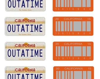 scale model Back to the Future Delorean California license tag plates