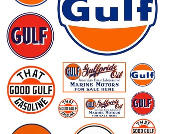 1:25 G scale model Gulf gasoline station gas signs