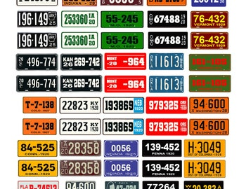 scale model car assorted USA license plates state tags 1920s 1/18 1/25 1/43 1/64
