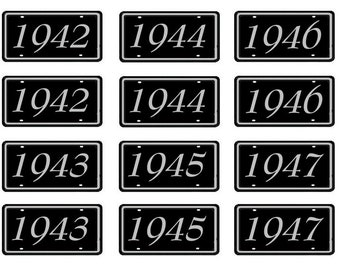 1/25 scale model car showroom year license tag plates 1940 1950 1960 1970 1980 1990 2000