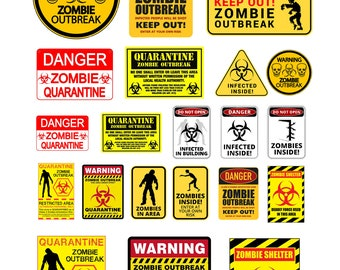 scale model zombie warning signs