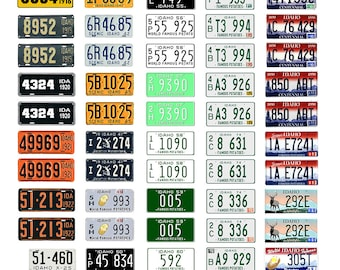 scale model car assorted USA license plates Idaho state tags  1/18 1/25 1/43 1/64