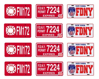scale model fire truck New York department license tag plates