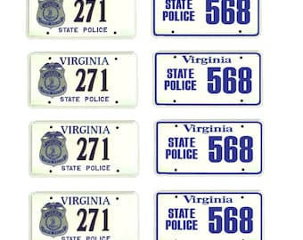 scale model Virginia State Police car license tag plates