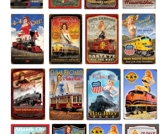 scale vintage train railroad pin up girl signs posters