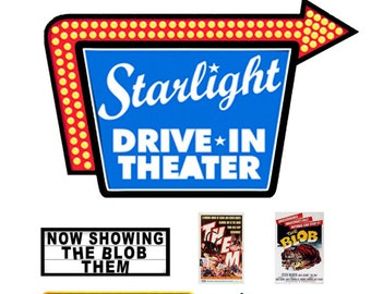 1:110 N scale model Drive-In Movie Signs