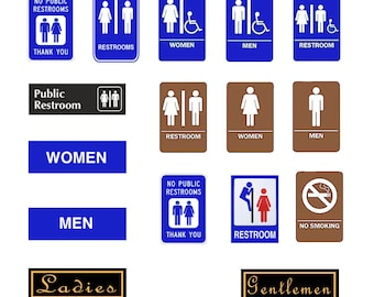 1:25 G scale model restroom Signs