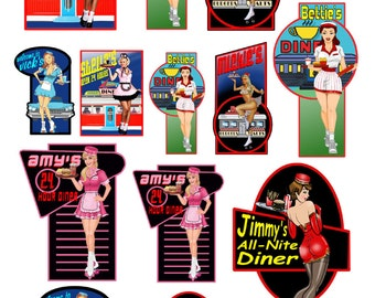 1:25 G scale model car hop diner signs