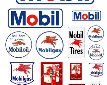 1:25 G scale model Mobile Oil gasoline station gas signs