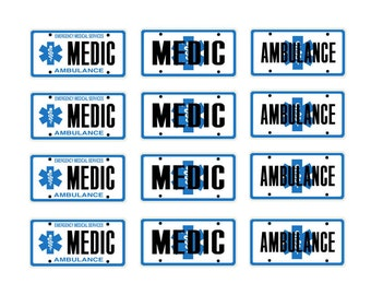 scale model ambulance medic EMT EMS license tag plates