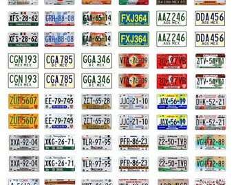 scale model car assorted Mexico license plates Mexican tags  1/18 1/25 1/43 1/64