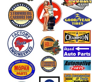 scale model automobile car part signs AC spark plugs Delco Hooker
