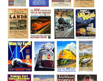 scale vintage train railroad signs posters