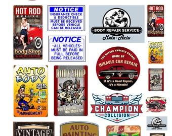 scale model automobile auto body repair car service auto shop signs