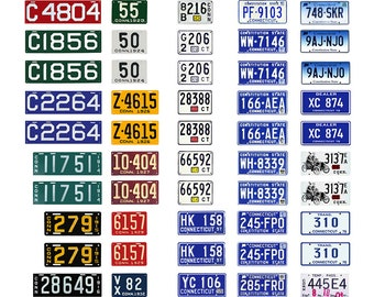 scale model car assorted USA license plates Connecticut state tags  1/18 1/25 1/43 1/64