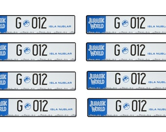 scale model Jurrasic World car truck jeep license tag plates