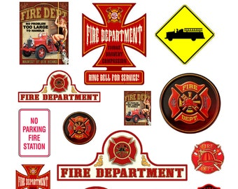 scale model city fire station signs