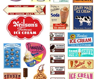 scale ice cream parlor soda fountain signs