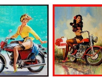 1:10 scale model vintage motorcycle pin up posters set 2
